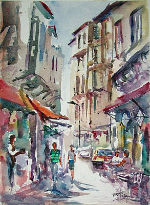 Art Print featuring the painting Little Trip At Exotic Streets In Istanbul by Faruk Koksal
