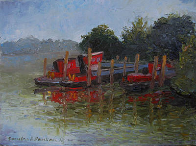 Painting - Little Tugs In Holland Michigan by Art Nomad Sandra  Hansen