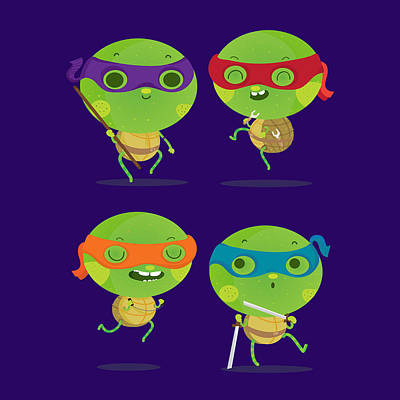 Tmnt Digital Art - Little Turtles by Maria Jose Da Luz