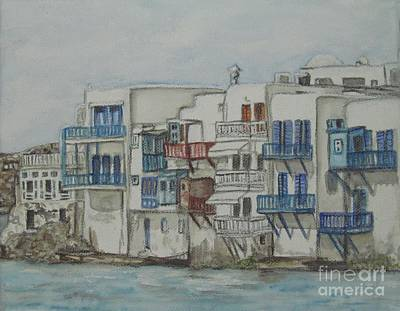Painting - Little Venice Mykonos Greece by Malinda  Prudhomme