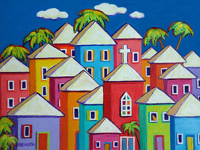 Painting - Colorful Houses Tropical Caribbean - Little Village by Rebecca Korpita