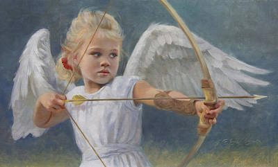 Cherub Painting - Little Warrior by Anna Rose Bain
