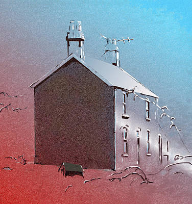 Digital Art - Little Welsh House by Gillian Owen