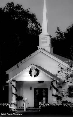 Little White Church Bw Art Print