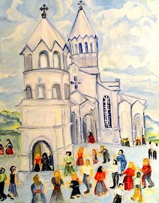 Painting - Little White Church Ghazanchetsots Cathedral Karabagh Armenia by Helena Bebirian