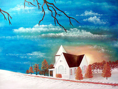 Painting - Little White Church by Marvin Barham