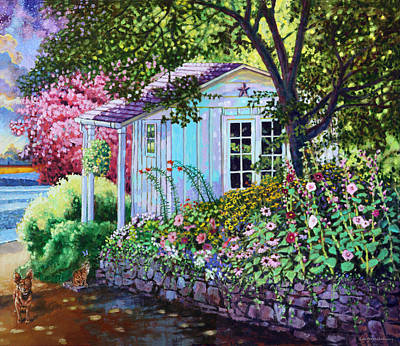 Painting - Little White Garden Shed by John Lautermilch