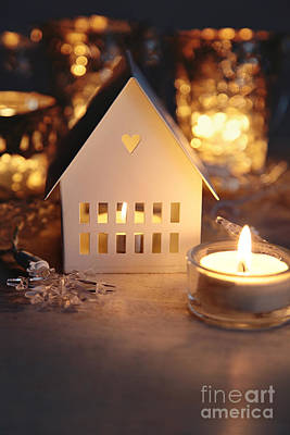 Little Cabin Photograph - Little White House Lit With Candle For The Holidays by Sandra Cunningham