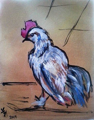 Little White Rooster Art Print by Loretta Nash