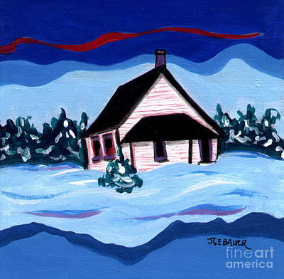 Art Print featuring the painting Little White Schoolhouse by Joyce Gebauer