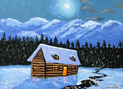 Ruben Carrillo Wall Art - Painting - Little Winter Cabin by Ruben Carrillo