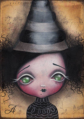 Pop Surrealism Painting - Little Witch by  Abril Andrade Griffith