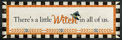 Halloween Sign Painting - Little Witch by Jo Moulton