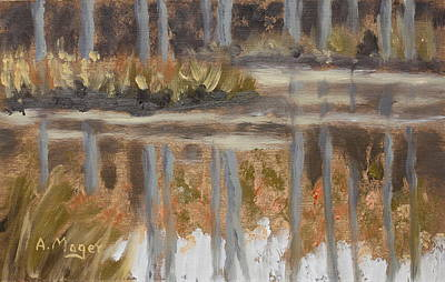 Painting - Little Woodland Pond by Alan Mager