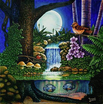 Toadstools Painting - Little World Chapter Full Moon by Michael Frank