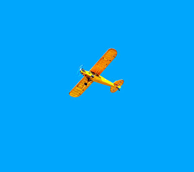 Print featuring the photograph Little Yellow Flyer Plane by Tracie Kaska