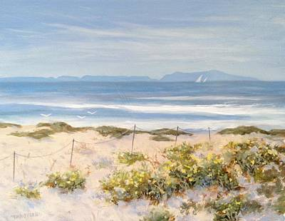 Sand Dunes Painting - Little Yellow Wildflowers by Tina Obrien