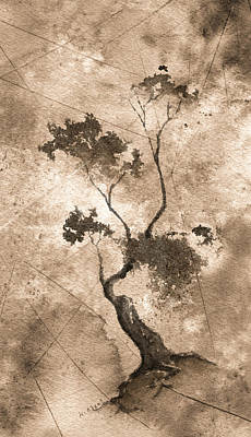 Little Zen Tree 873 Altered Art Print by Sean Seal