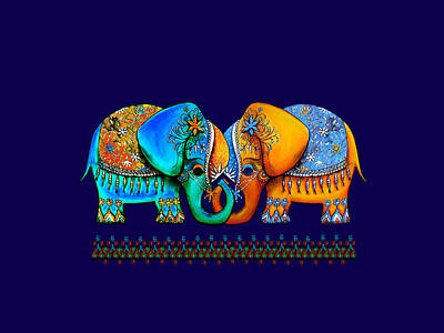 Painting - Littlest Elephant Love Links by Karin Taylor