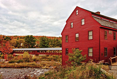 Mill Photograph - Littleton Gristmill And Covered Bridge by Marcia Colelli