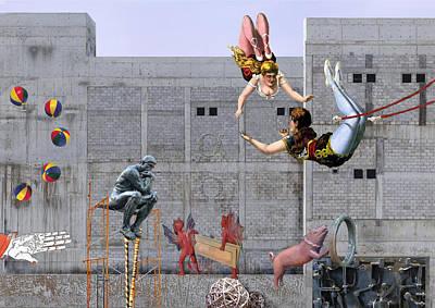 Jugglers Digital Art - Live Circus At Heaven's Door by Maria Jesus Hernandez