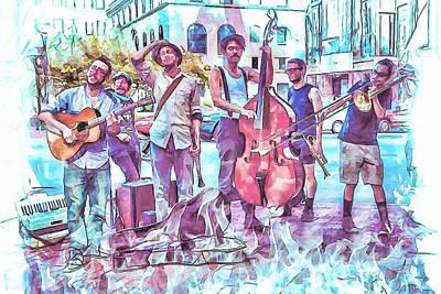 Live Jazz In Asheville Art Print by John Haldane