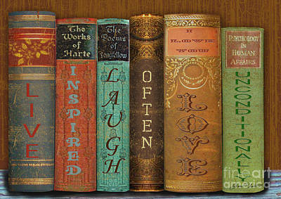 Old Books Painting - Live-laugh-love-books by Jean Plout