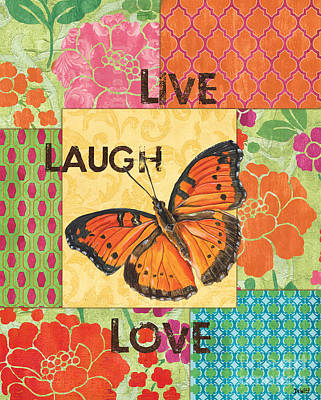 Live Laugh Love Patch Art Print by Debbie DeWitt