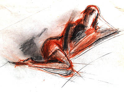 Pose Drawing - Live Model Study 3 by Mona Edulesco