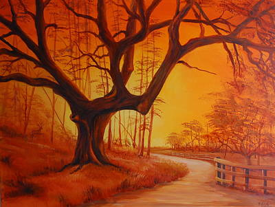 Painting - Live Oak At Sunset by Rich Kuhn
