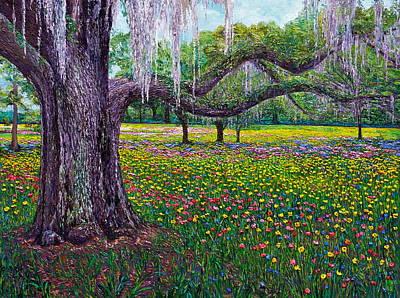 Live Oak Spring Flowers Art Print by Linda J Bean
