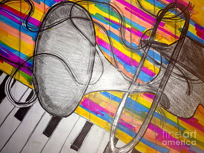 Musicians Drawings - Live out loud by Angela Glover