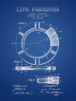 Live Preserver Patent From 1902 - Blueprint Art Print by Aged Pixel