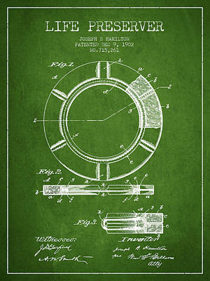 Live Preserver Patent From 1902 - Green Art Print by Aged Pixel