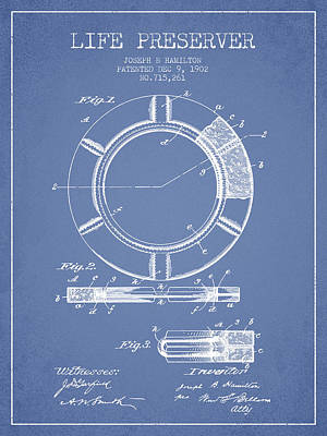 Lifebelt Drawing - Live Preserver Patent From 1902 - Light Blue by Aged Pixel