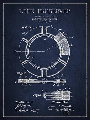 Lifebelt Drawing - Live Preserver Patent From 1902 - Navy Blue by Aged Pixel