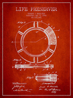 Lifebelt Drawing - Live Preserver Patent From 1902 - Red by Aged Pixel