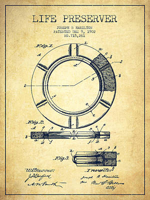 Live Preserver Patent From 1902 - Vintage Art Print by Aged Pixel