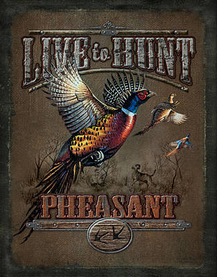 Licensing Painting - Live To Hunt Pheasants by JQ Licensing