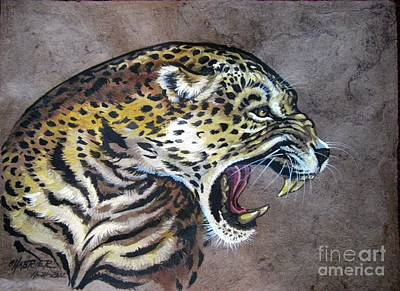 Amate Bark Paper Painting - Livid Leopard by Anne Shoemaker-Magdaleno