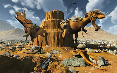 Triceratops Digital Art - Living Fossils In A Desert Landscape by Mark Stevenson