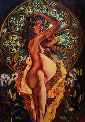 Pregnant Painting - Living In The Body Milk And Honey by Amanda Greavette