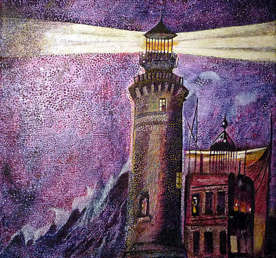 Egg Tempera Painting - Living In The Lighthouse 1 by Catherine Meyers