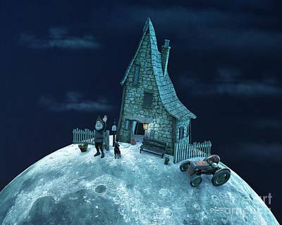 Digital Art - Living On The Moon by Jutta Maria Pusl