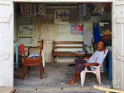 Photograph - Living Quarters Of A Burmese Man Along 75th Street Chanayethazan Mandalay Burma by Ralph A  Ledergerber-Photography