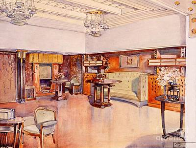 Art Nouveau Drawing - Living Room, 1905 by Alfred Grenander