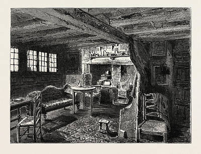 Stratford Drawing - Living-room In Anne Hathaways Cottage At Shottery by English School