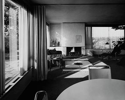 Black And White Photograph - Living Room In Mr. And Mrs. Walter Gropius' House by Robert M. Damora