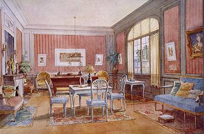 Billiard Drawing - Living Room Interior, Illustration by Georges Remon