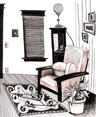 Sepia Ink Mixed Media - Living Room by Michele Fritz